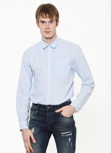 Jack & Jones Çizgili Uzun Kollu Slim Fit Gömlek Mavi